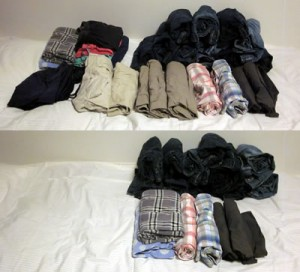 bottoms pile KonMari sorting