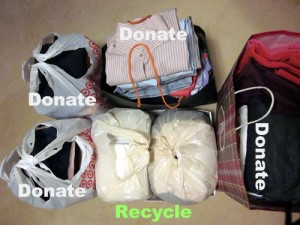donate and recycle excess clothing