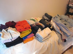 Tops pile before KonMari sorting