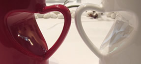 cups with heart shape handle