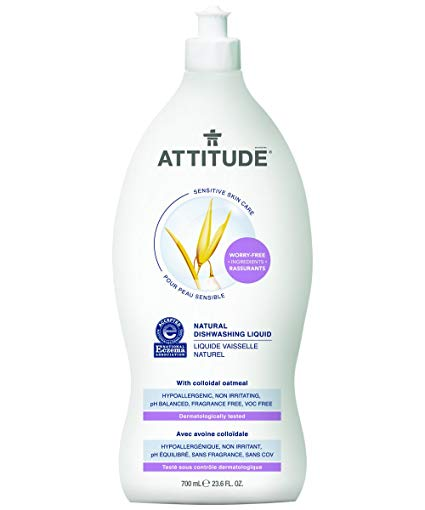 Attitude Natural Dishwashing Liquid, Sensitive Skin, Fragrance Free