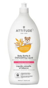 ATTITUDE Sensitive Skin, Hypoallergenic Baby Bottle & Dishwashing Liquid, Fragrance Free